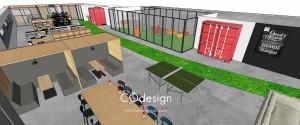 Un espace de créativité donnant sur les bureaux et sur l'atelier